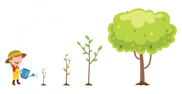 Klein kind tuinieren en planten