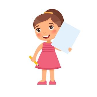 Klein lachend meisje met een leeg vel papier schattig schoolmeisje