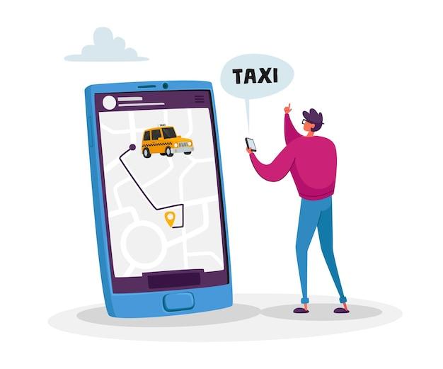 Klein mannelijk klantpersonage bestel taxi via smartphone-app met kaart