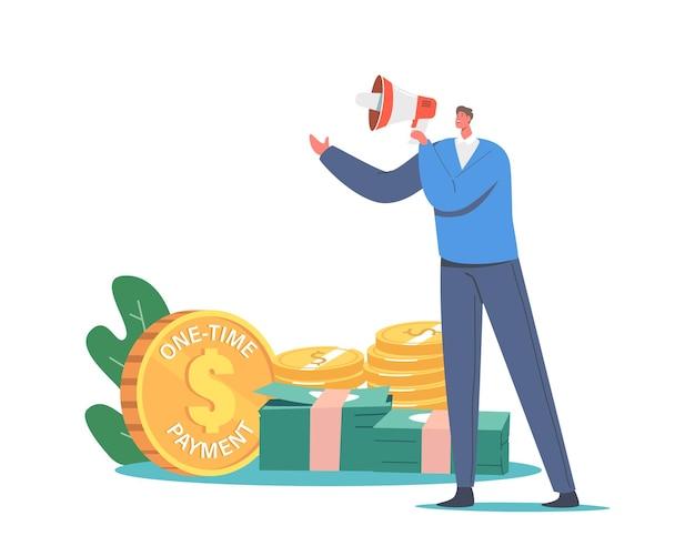 Klein mannelijk personage met megafoon promoot het bedrijfsmodel van het abonnement met eenmalige betaling. toepassing lidmaatschapsservice beschikbaar op basis van maandelijks abonnement. cartoon vectorillustratie