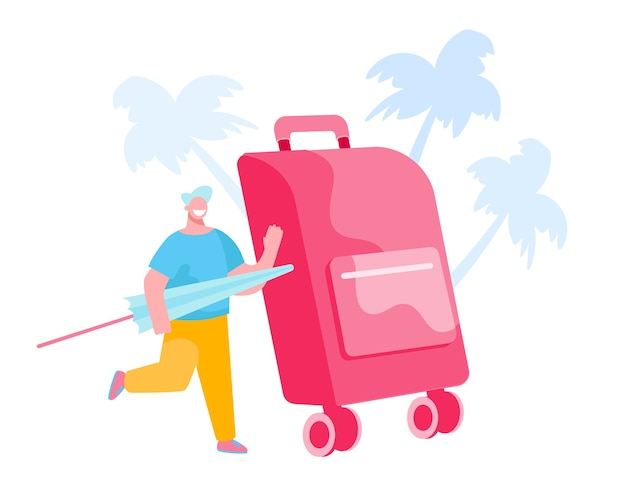 Klein mannelijk personage met paraplu in handen bij enorme bagage