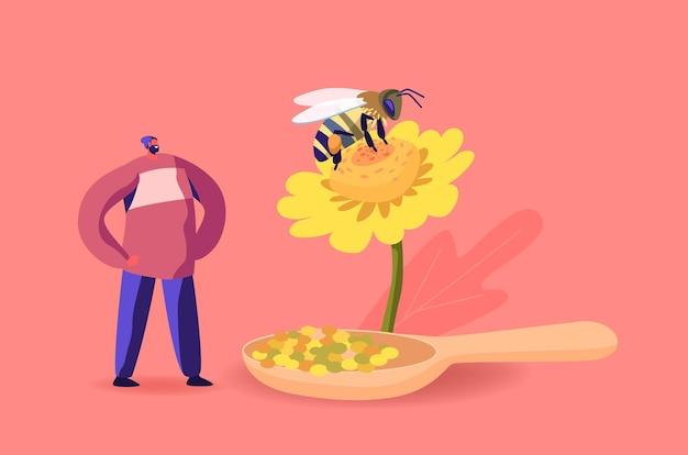 Klein mannelijk personage staat bij enorme bloem met bij die bloemstuifmeel verzamelt voor het maken van propolis