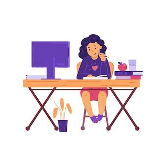 Klein meisje aan tafel studeren online flat geïsoleerd