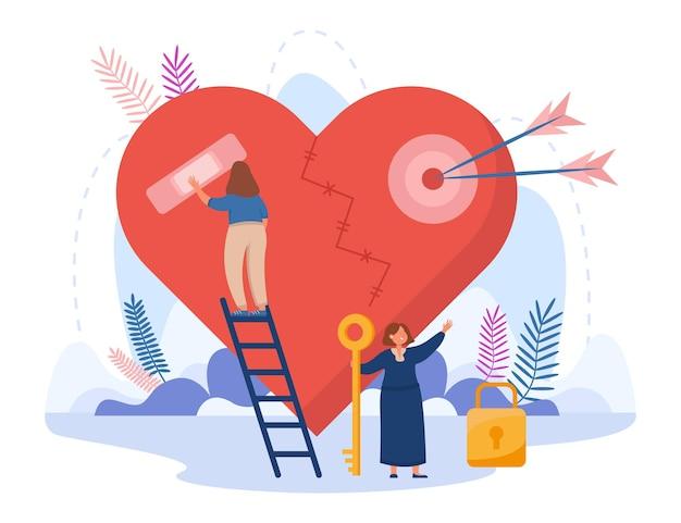 Klein meisje dat op de trap staat en een gebroken hart vastplakt. vrouwelijk stripfiguur met sleutel om vlakke afbeelding te vergrendelen