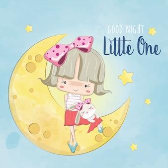 Klein meisje en haar konijn op de maan
