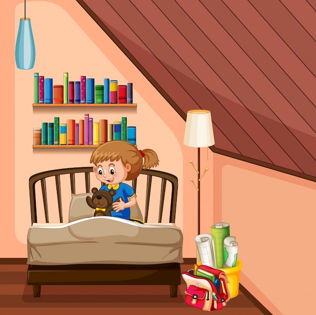 Klein meisje en teddybeer in de slaapkamer