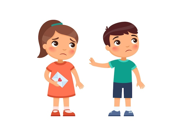 Klein meisje geeft de jongen een liefdesbrief en wordt afgewezen eerste liefde concept kinderpsychologie gebroken hart stripfiguren