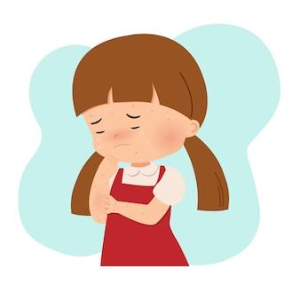 Klein meisje haar handen krabben vanwege allergie. waterpokken, puistjes, acne, varicella. besmettelijke virale infectie. vlakke stijl vector geïsoleerd op wit.