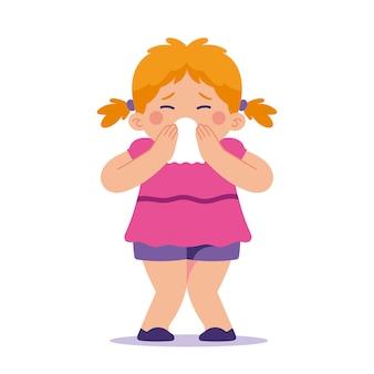 Klein meisje haar neus snuiten, niezen