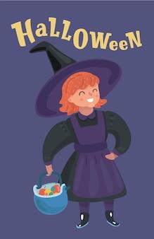 Klein meisje in de mand van het heksenkostuum op halloween