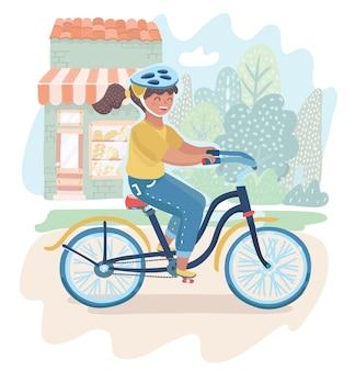 Klein meisje in helm fietsten buiten op buiten straat achtergrond.