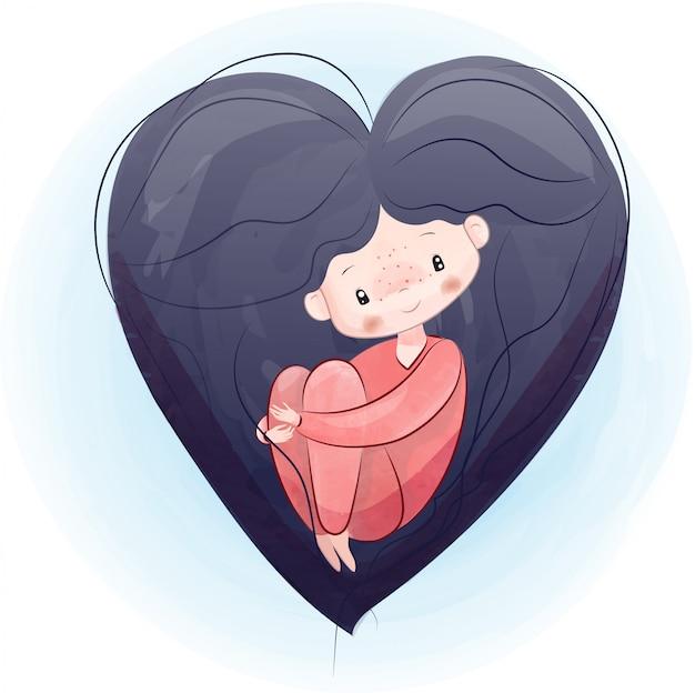 Klein meisje in het hart van de aquarel