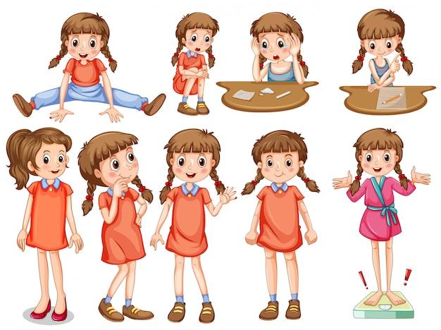 Klein meisje in verschillende acties