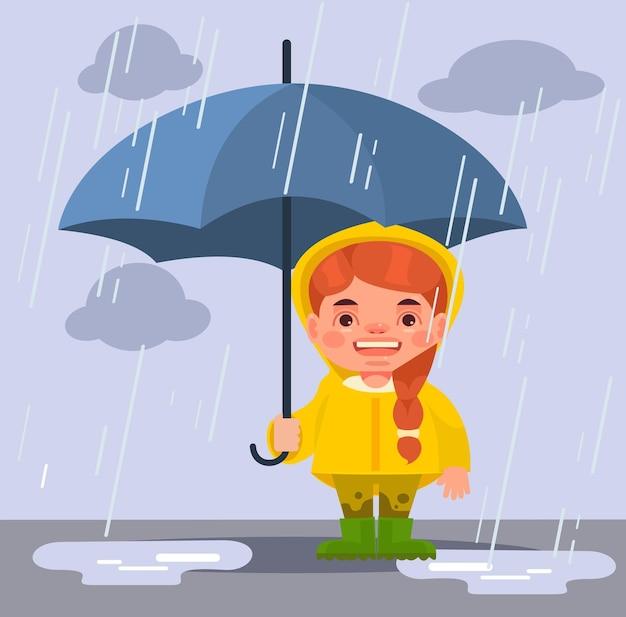 Klein meisje karakter onder regen. tekenfilm