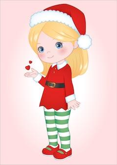 Klein meisje kerst clipart