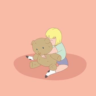 Klein meisje knuffelen teddyberen. hand getrokken stijl vector doodle ontwerp illustraties.