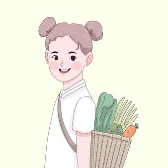 Klein meisje met groenten en fruit i