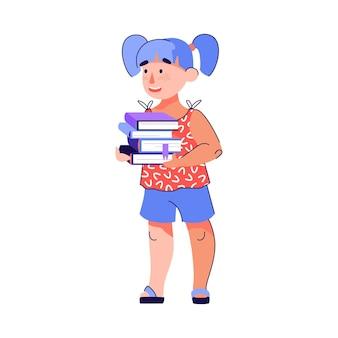 Klein meisje met stapel boeken cartoon schoolkind klaar voor onderwijs
