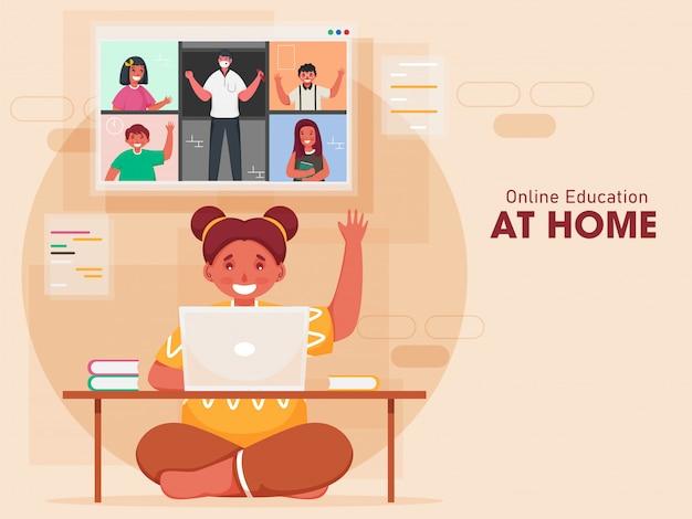 Klein meisje met videogesprek met klasgenoten en leraar in laptop met hallo zeggen thuis op perzik achtergrond.