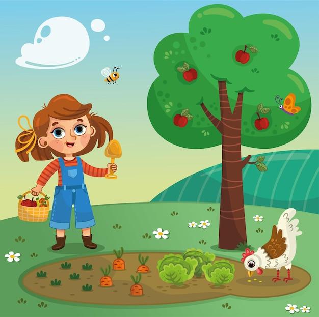 Klein meisje op de boerderij met de kip vectorillustratie