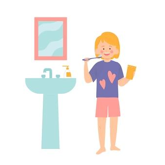Klein meisje poetst haar tanden in de badkamer vectorillustratie in vlakke stijl