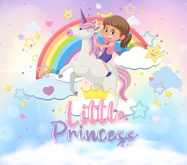 Klein meisje rijdt op pegasus met een klein prinsessenlettertype in de lucht