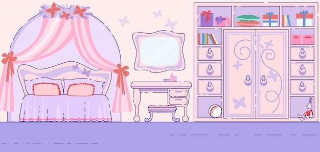 Klein meisje slaapkamer fairytale interieur platte vector