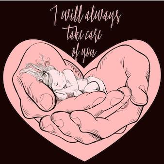 Klein meisje slaapt in grote handen