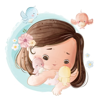 Klein meisje speelt met vogels