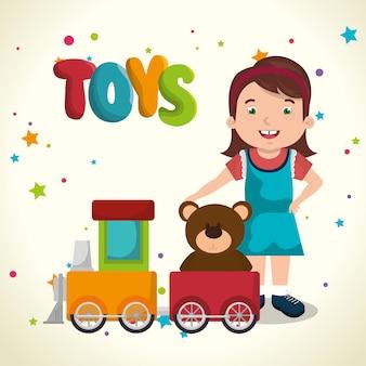 Klein meisje spelen met speelgoed karakter