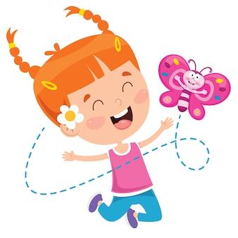 Klein meisje spelen met vlinder