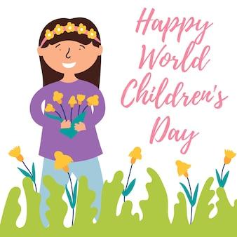 Klein meisje wenst fijne vakantie en geeft boeket wilde bloemen wereld kinderdag