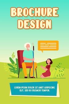 Klein meisje zittend op de vloer en spreken met grootvader. dialoogvenster, kleinkind, ouderen platte vectorillustratie