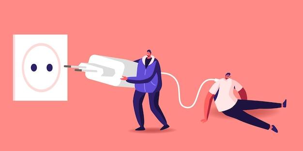 Klein personage zet enorme stekker in het stopcontact om de vermoeide en uitgeputte zakenman op te laden met een laag levensenergiepercentage