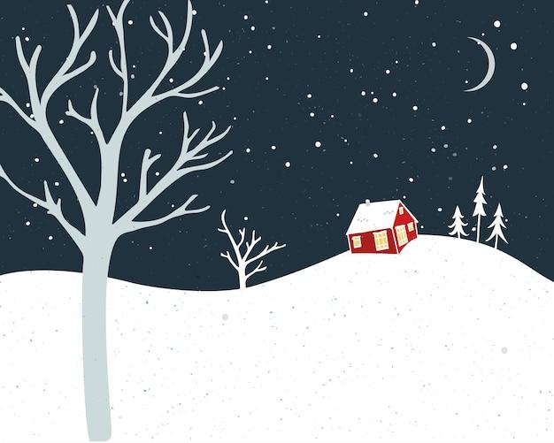 Klein rood huis en vallende sneeuw. winterkaartontwerp met bomensilhouetten.