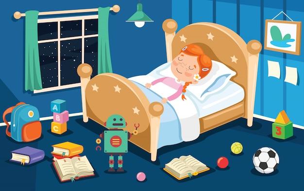Klein schattig kind slapen in bed