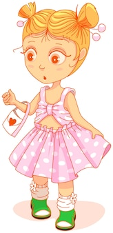 Klein schattig meisje in een mooie jurk die er verrast uitziet. vectorbeeldverhaalillustratie die op wit wordt geïsoleerd