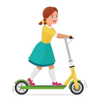 Klein schattig meisje jongen met behulp van elektrische scooter stadsvoertuig geïsoleerd