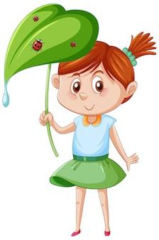 Klein schattig meisje met lieveheersbeestjes op een blad