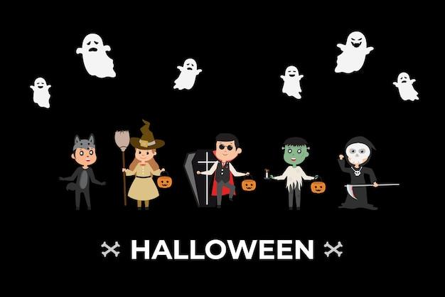 Klein spookkostuum in halloween-verkleedkleding met spook