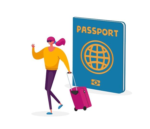 Klein toeristenvrouwenkarakter met koffer bij groot paspoort dat in het buitenland reist