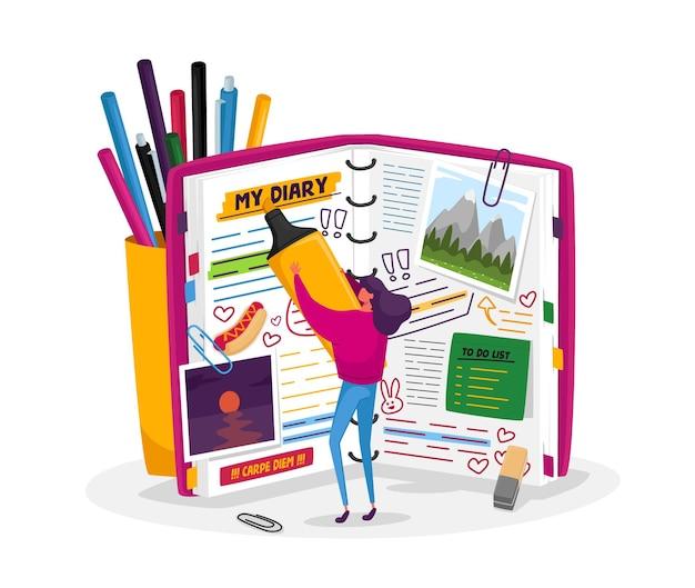 Klein vrouwelijk personage bij groot dagboek, notities, memoires schrijven, deals plannen, takenlijst invullen, stickers en afbeeldingen plaatsen, meisje titels markeren in privé-notitieblok