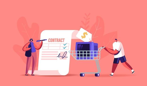 Klein vrouwelijk personage dat enorm papieren document ondertekent voor het kopen of verkopen van dingen in pandjeshuis