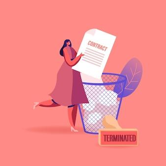 Klein vrouwelijk personage gooit enorm contractdocument in de afvalbak met vellen papier