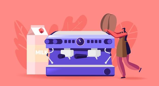 Klein vrouwelijk personage in schort bij enorme koffiemachine. vrouw brouwt cappuccino, studeer aan barista school concept. serveerster in coffeeshop, barman werk of studeren. cartoon vectorillustratie