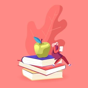 Klein vrouwelijk personage met tablet pc zittend op enorme boekenstapel