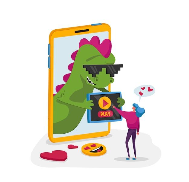 Klein vrouwelijk personage op enorme smartphone met grappige draak