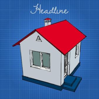 Klein wit huis met een rood dak en een blauwe basis.