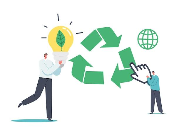 Klein zakenmankarakter met enorme gloeilamp en groen blad erin, man klik op recyclingbord. ecologie vernieuwen en vernieuwen van concept, strategie herwerken, project opnieuw starten. cartoon vectorillustratie