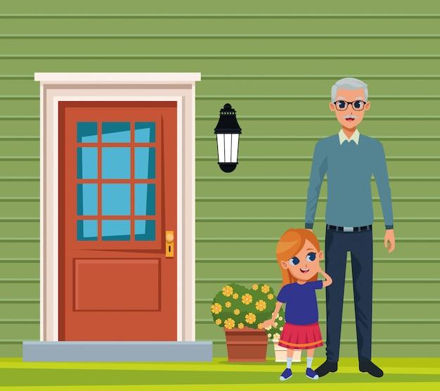 Kleindochter en grootvader van de hand